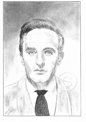 Anton Diffring Pencil Portrait