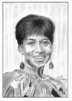 Aretha Franklin Pencil Portrait