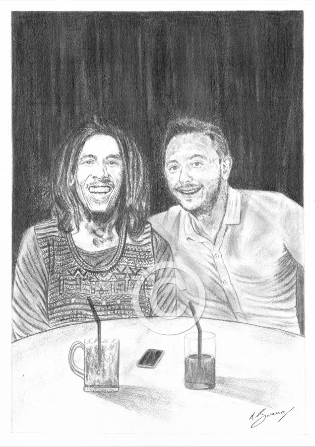 A night out with Bob Marley Pencil Portrait