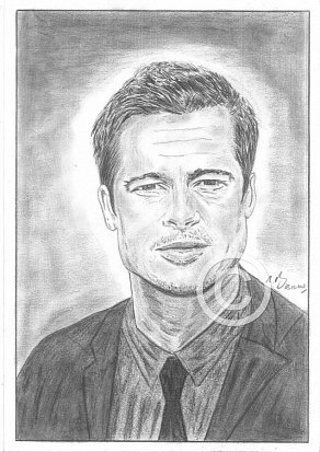 Brad Pitt Pencil Portrait