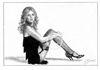 Britt Ekland Pencil Portrait