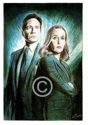 David Duchovny & Gillian Anderson Pencil Portrait