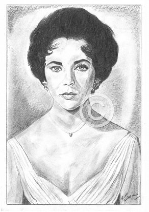 Elizabeth Taylor Pencil Portrait