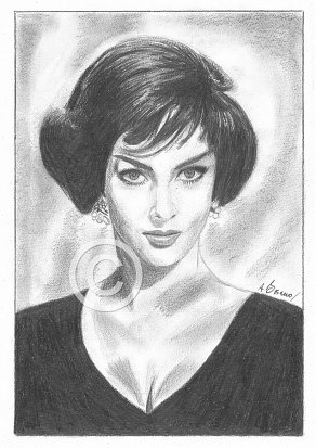 Gina Lollobrigida Pencil Portrait