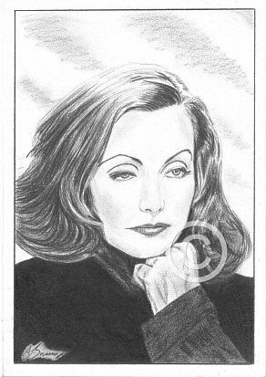 Greta Garbo Pencil Portrait