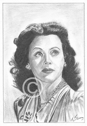 Hedy Lamarr Pencil Portrait