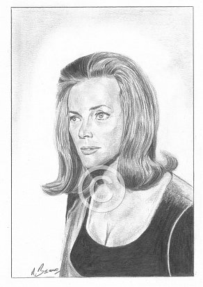 Honor Blackman Pencil Portrait