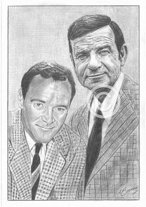 Jack Lemmon & Walter Matthau Pencil Portrait