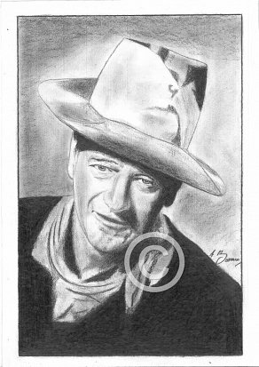 John Wayne Pencil Portrait