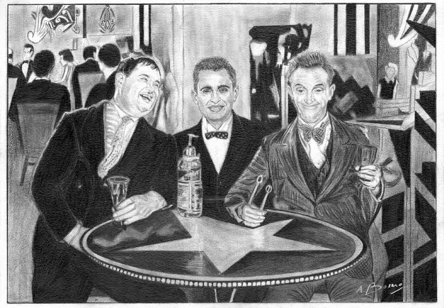 A night out with Laurel & Hardy Pencil Portrait