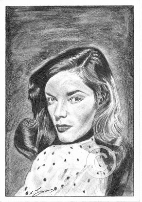 Lauren Bacall Pencil Portrait