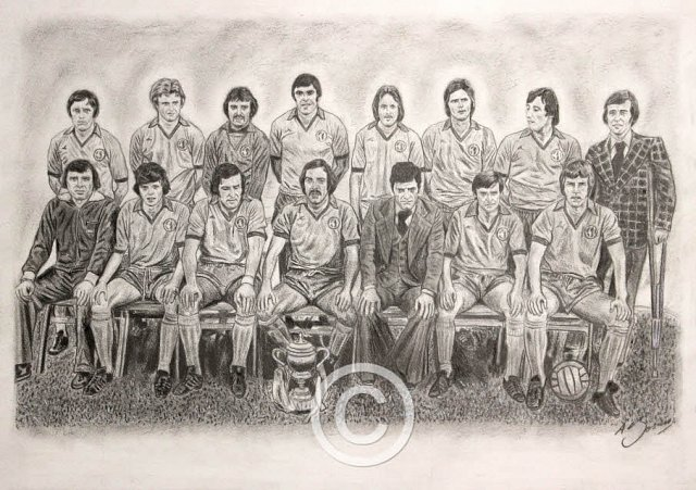 Mansfield Town 1976-77 Pencil Portrait