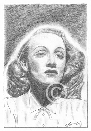 Marlene Dietrich Pencil Portrait
