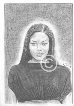Naomie Harris Pencil Portrait