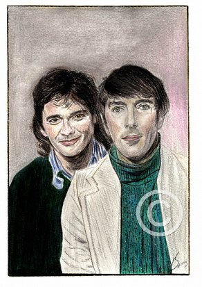 Peter Cook & Dudley Moore Pencil Portrait